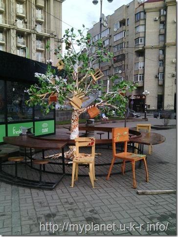 Новогодний дуб 2018 возле кафе в Киеве