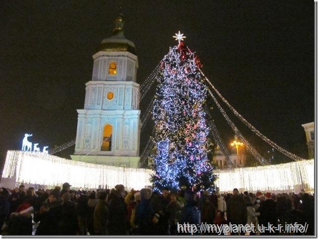 Главная елка страны ночью в праздничных огнях