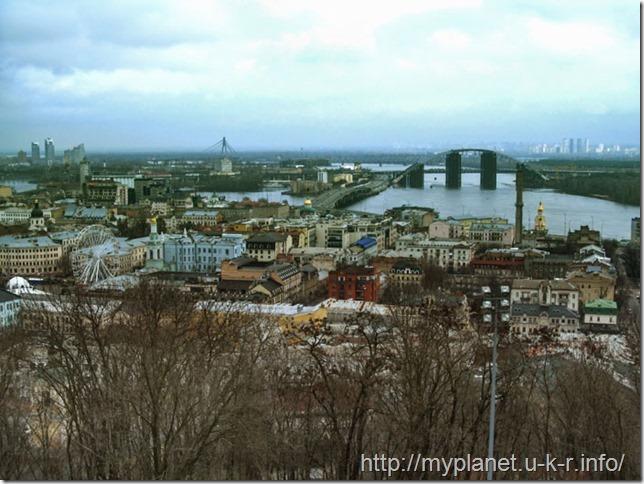 Вид на Киев из смотровой площадки Андреевской церкви