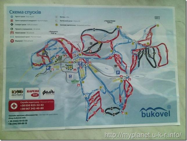 Карта горнолыжного курорта Буковель
