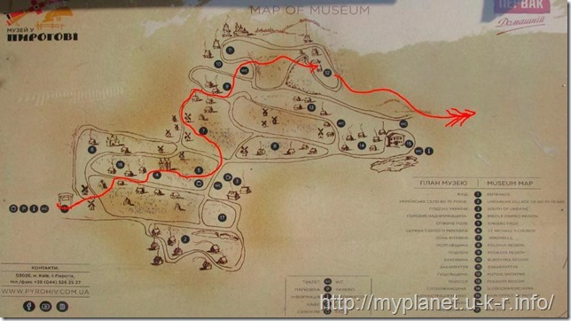 The route of my walk through the Museum of Folk Architecture and Life