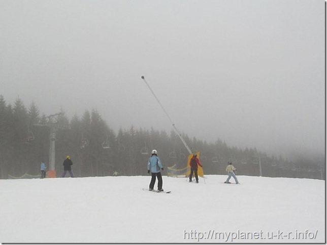 Отдыхающие на горе Черная Клева зимой