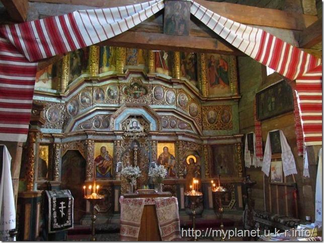 The interior of the old Ukrainian church from Zarubintsy village