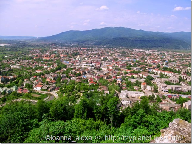 Transcarpathian town against the background of the blue mountains