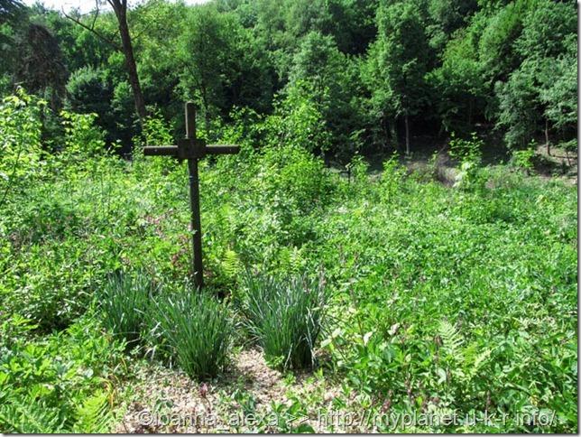Кладбище в лесу на склоне горы в Хусте