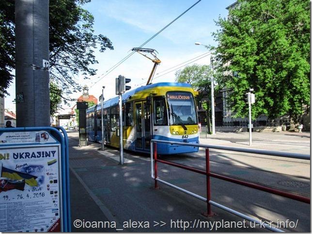 Красивый кошицкий современный трамвайчик в цветах украинского флага, если не обращать внимание на белые полосы ;)