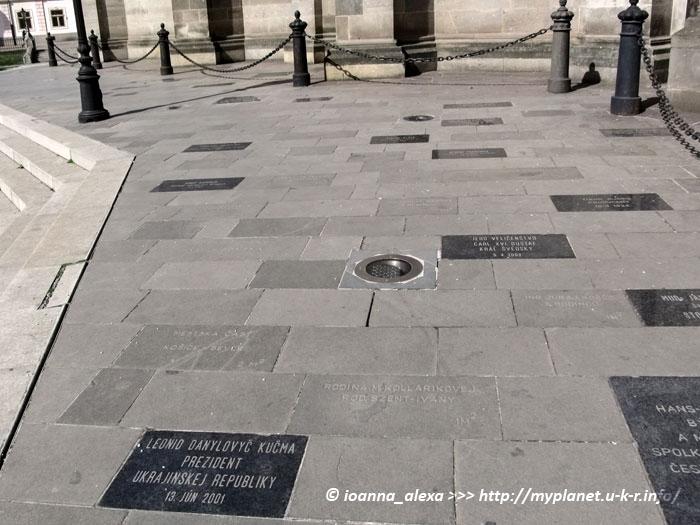 Площадка с именными плитами возле Собора Святой Елизаветы в Кошице