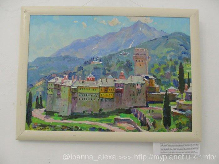 Изображение греческого монастыря Каракал (указано на приклеенной под картиной бумажке)