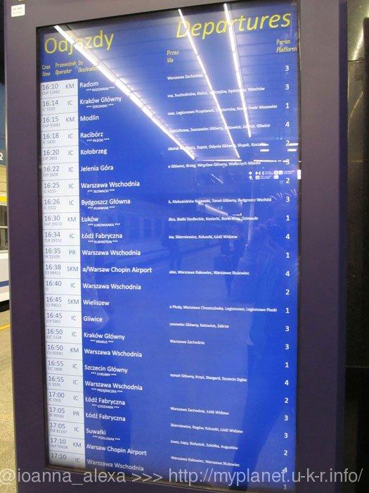 Табло, информирующее о ближайших поездах, отходящих со станции Центральная