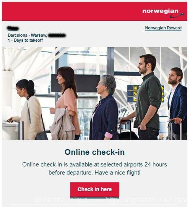 Онлайн check-in на самолет Norwegian возможен только за 24 часа до вылета!