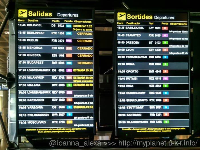 Электронное табло с ближайшими рейсами